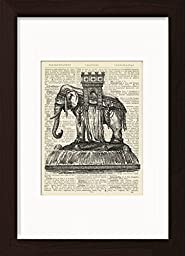 Bastille Elephant Monument Ready To Frame Mounted /Matted Dictionary Art Print