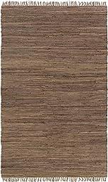 Brown Designer Rug Simple Fringe 2-Foot x 3-Foot Cotton Solid Flat-Woven Carpet