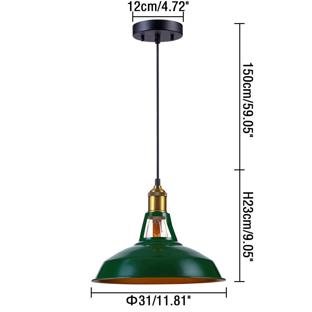 Kiven Industrial Barn Pendant Light Vintage Green Retro Hanging Light Warehouse Lighting Pendant Lighting For Kitchen Island 2
