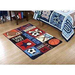 Mainstays Kids All Star Polyester Rectangular Rug, Multi-Color, 3\' x 4\'8\