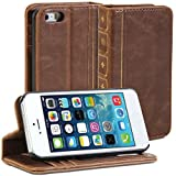 GMYLE Book Case Vintage for iPhone 5 - Brown Classic Premium Leather Wallet Stand Case Cover