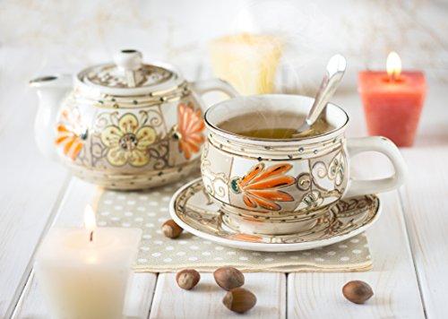 """Handmade Exclusive Porcelain Hand-painted Gold Border Tea for One Set """"Roman Flowers"""" 11.8/8.1 Ounces. """"Ella-ceramica"""" By Saint Elisabeth Convent Reviews"""