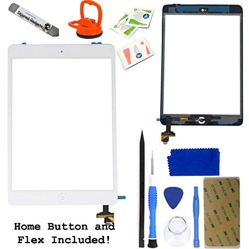 White Touch Screen Glass Digitizer Assembly With Spare Parts (Home Button, Flex Cable, Camera Bracket, Adhesive) For Ipad Mini