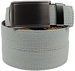 SlideBelts Men's Canvas Belt without Holes - Gunmetal Buckle / Grey Canvas (Trim-to-fit: Up to 48