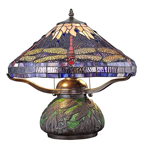 Tiffany-style Dragonfly Table Lamp with Mosaic Base (Tabletop Torchiere compare prices)