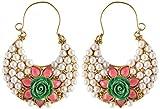 SPE White Pearl & Multicolor Flower Hoop Earrings for Women (SPE E 03)