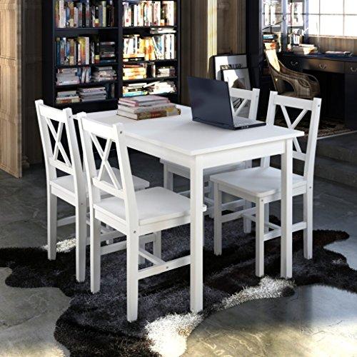 vidaXL-Holztisch-mit-4-Sthle-Mbel-Set-Wei-Tisch-Esstischset