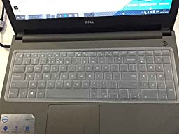 CaseBuy Keyboard Silicone Cover Protector Skin for Dell Inspiron 15 3000 5000 i3541 15-3542 15-3543 15-3551 15-3552 15-5545 15-5547 15-5548 15-5555 15-5558 15-5559 15-7559 17-5748 17-5749 17-5755 17-5758 17-5759 US Layout(Clear)