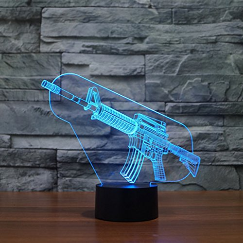 3D Illusion Lamp Gawell Night Light Gun 7 Changing Colors Touch USB Table Nice Gift Toys Decorations (Magic Bullet Battery compare prices)