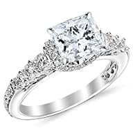1.35 Carat Designer Four Prong Round Diamond Engagement Ring with a 0.5 Carat GIA Certified Princess…