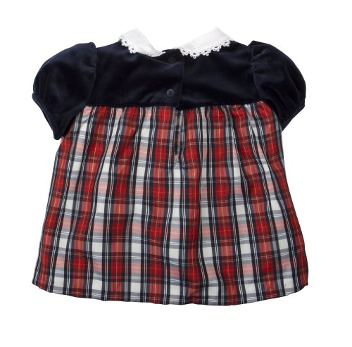 (V55534) Little Bitty Newborn Girls Velvet And Tartan Print Dress With Headband In Blue/Red, 6/9M front-976015