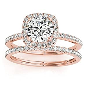 Square Shape Halo Diamond Bridal Set with Engagement Ring and Band, Prong Set in 14k Rose Gold 0.33ct