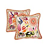 Attractive Set Of 2 Cushion Cover Elephant Off White 16 X 16 Cotton Pillow Cases
