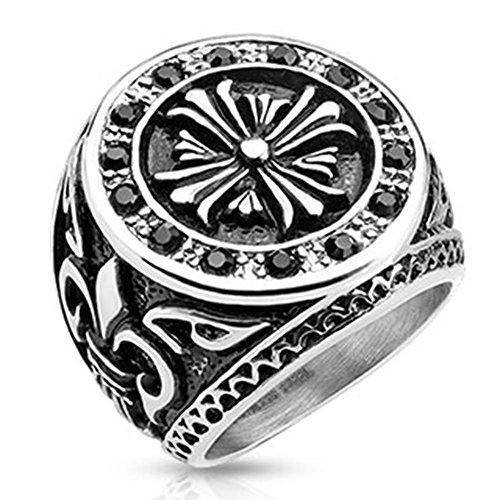 Paula & Fritz anello in acciaio INOX chirurgico 316L Biker anello 27 mm Fleur de Lis cuff-daddy Zikonia larghezza anello misure 60 19 - disponibili 69 22 R-H9833, Acciaio inossidabile, 20, colore: Argento, cod. R-H9833_90