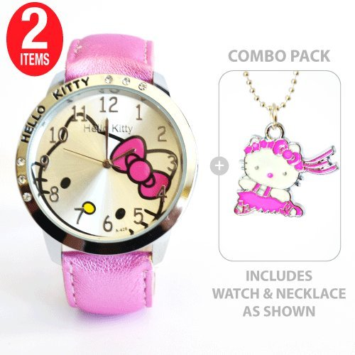 Hello Kitty Classic Ladies Quartz Wrist Watch Pink with Hello Kitty Ballerina Charm Necklace    COMBO PACK