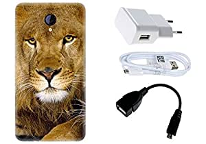 Spygen Micromax A106 Unite 2 Case Combo of Premium Quality Designer Printed 3D Lightweight Slim Matte Finish Hard Case Back Cover + Charger Adapter + High Speed Data Cable + Premium Quality OTG