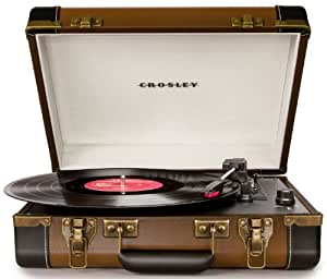 Crosley CR6019A-BR Executive Portable USB-Enabled 3-Speed Turntable (Brown & Black)
