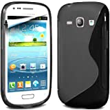 Gadget Giant ® Black S Line Gel Grip Silicone Case Cover Protector For Samsung Galaxy Fame S6810