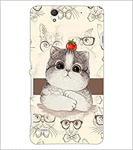 PrintDhaba Cute Kitty D-4031 Back Case Cover for SONY XPERIA C4 (Multi-Coloured)