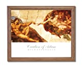 Michelangelo Creation Of Adam # 2 Religious Wall Picture Oak Framed Art Print