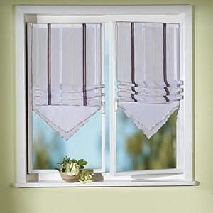 iovivo voile raffrollo stella mit streifen und dreieck abschluss beige 100x45 cm. Black Bedroom Furniture Sets. Home Design Ideas