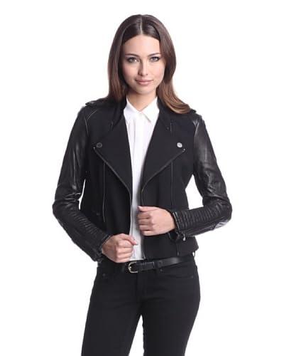 BCBGMAXAZRIA Women's Donna Mixed Media Moto Jacket  - Black