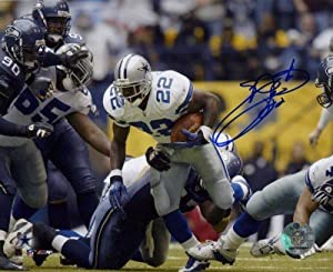 Emmitt Smith Autographed Hand Signed Dallas Cowboys 8x10 Photo (Record Breaking Run) by Hall of Fame Memorabilia