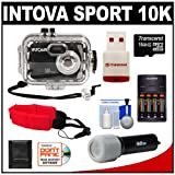 Intova Sport 10K Waterproof Digital Camera with 140' Underwater Housing + 16GB Card + Batteries & Charger + Case + LED Torch + Floating Strap + Accessory Kit