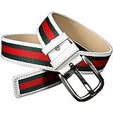 Fashion White Green Red Stripe Canvas Pin Buckle Belt Waistband