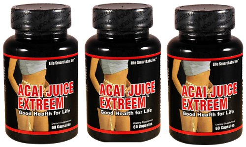 Life Smart Labs, 1300 mg Acai Berry Juice Extreem TM New Stronger Potency HIGH POTENCY ACAI Berry Natural Nutrition, Energy and also used for Weight Loss Detox Diet 3 Months 180 Caps, 1300 Mg, Acai Juice Extreme