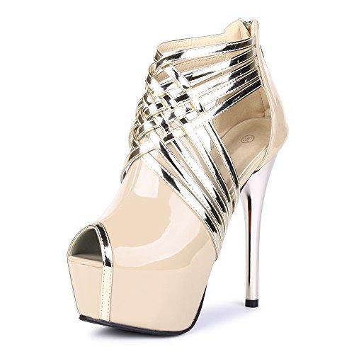 Fereshte Womens Sexy Fashion Peep-toe Stripe Sandals Super High Heels PU Nude EU Size 44 - US B(M) 11