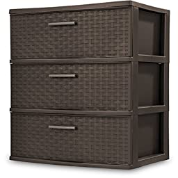 3-Drawer Durable Plastic, Wide Weave Tower, Espresso