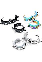 JOVIVI® Men Women Jewelry Stainless Steel Hoop Spike Punk Earring,3 Pairs