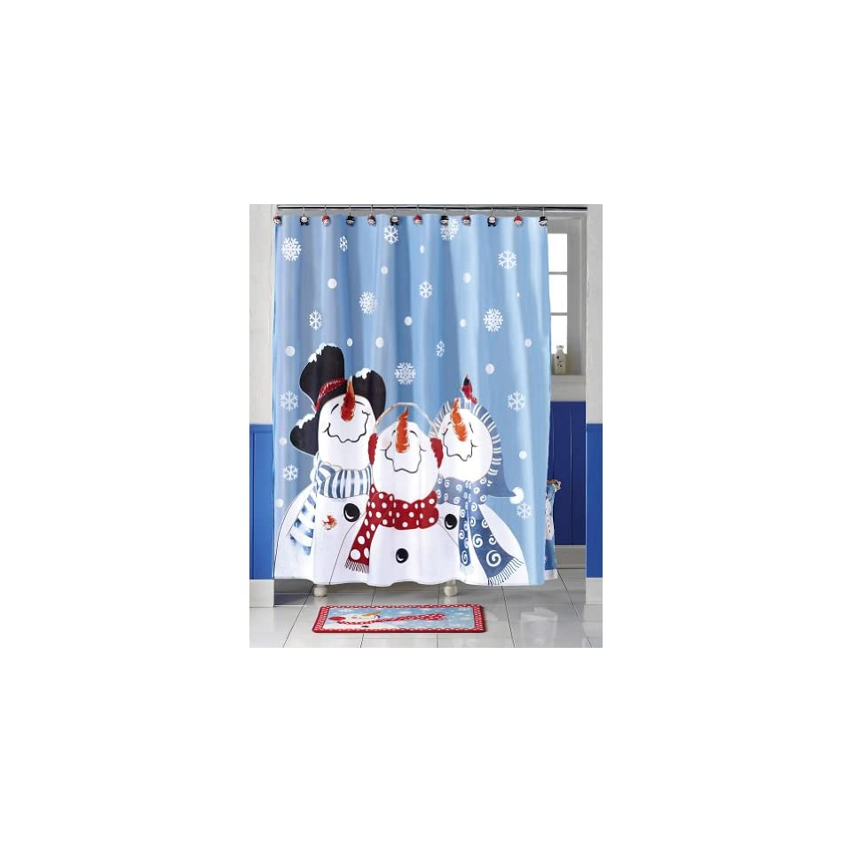 Frosty Friends Snowman Christmas Holiday Shower Curtain By Collections Etc Snowman Bathroom Set