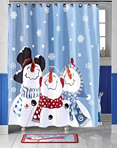 Frosty Friends Snowman Christmas Holiday Shower Curtain By Collections Etc Snowman