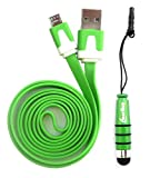Emartbuy® Duo Pack For Toshiba Encore 2 10.1 Inch Tablet- Green Metallic Mini Stylus + Green Flat Anti-Tangle Micro USB Sync Transfer Data & Charger Cable