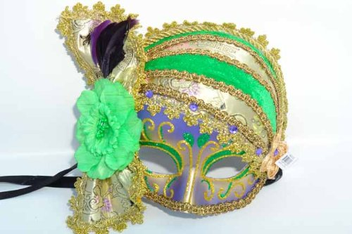 Women's Mardi Gras Pirate Scarf Hat Half Mask