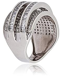 Mia Sarine 18K White Gold Sterling Silver Pave Cubic Zirconia Quad Band Women's Ring, Size 7