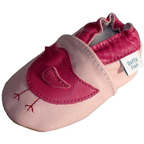 Bimba Bambina morbido pelle scarpe scamosciato - Rosa - design Uccellino - Dotty Fish - ragazza - taglia 3-4 anni