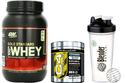 Bundle - 3 Items - Beginners Workout Supplement Stack - Optimum Nutrition 100% Whey Protein Gold Standard Double Rich Chocolate 2 Pounds (909 G), Cellucor C4 Extreme Pre-Workout Ice Blue Razz 60 Servings (342 G), Blenderbottle Classic 28 Oz With Blenderba