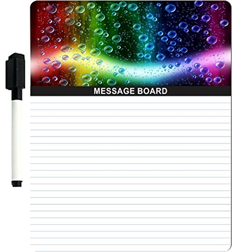 """Rikki Knighttm Cheerful Colors Of Raindrops On The Window Design 8"""" X 10"""" X 1/8 Hardboard Dry Erase Message Board With Magnet Strips On Back (Black Marker Included) front-614494"""