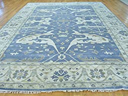 10 x 14 HAND KNOTTED DENIM BLUE OUSHAK ORIENTAL RUG VEGETABLE DYES G23959