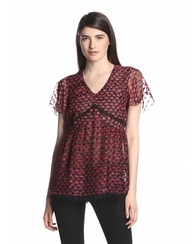 Anna Sui Women's Ombre Hearts Print Top