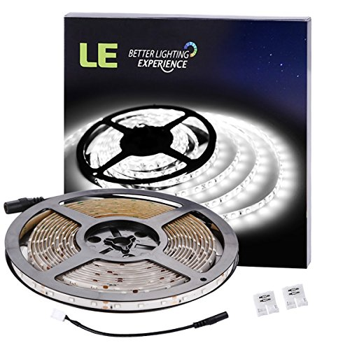 LE 16.4ft Waterproof Flexible LED Strip Lights, 300 Units SMD 3528 LEDs, 6000K Daylight White, 91 Lumens/ft, 1.5 watts/ft, LED Tape, 12V LED Light Strips, For Gardens/ Homes/ Kitchen/ Cars/ Bar (Strip Light For Cars compare prices)
