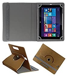 Acm Designer Rotating 360° Leather Flip Case For Iball Slide Wq149r Tablet Stand Premium Cover Golden