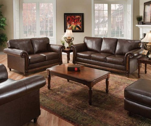 San Diego Coffee Leather Sofa & Loveseat Living Room Set