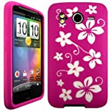 Wayzon HTC Desire HD Case Cover Skin Pouch Pink Silica Rubber With White Flower Pattern On Back
