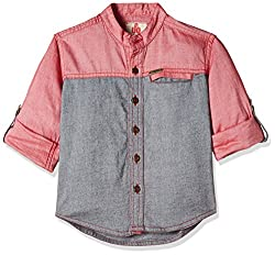 UFO Boys' Shirt (AW16-WB-BKT-227_Red and Grey_6 - 7 years)
