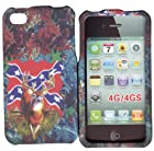 Camo Rebal Flag Apple Iphone 4, 4S at&t. Verizon, Sprint, C Spire Case Cover Hard Phone Case Snap-on Cover Rubberized Touch Faceplates