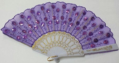 Decorative Elegant Colours Women's Silk Embroidered Sequin Folding Hand Fans / Easy to Carry Sequin Folding Fans 17